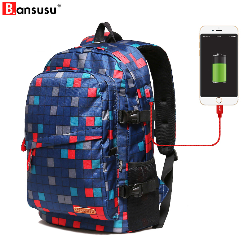 USB Charging Backpacks Student College Waterproof Backpack Men Women Escolar Mochila Quali