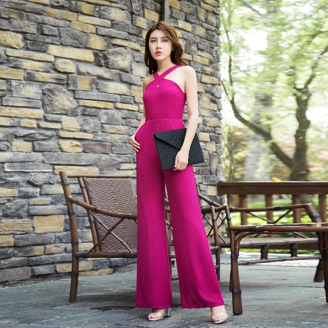 Women Summer Formal Jumpsuit Party Chiffon Elegant Rose Red Full Length Wide Leg Rompers Plus Size 3XL 4XL