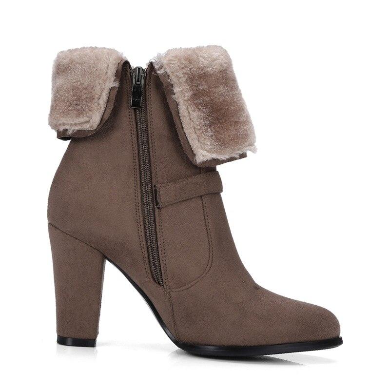 9b1d77efbeb8d Femmes Talons vert De Bottes gris Talon Conception Noir Automne Hauts 2019  Fourrure Boucle Zip Grande D hiver Marque marron Épais Chaussures ...