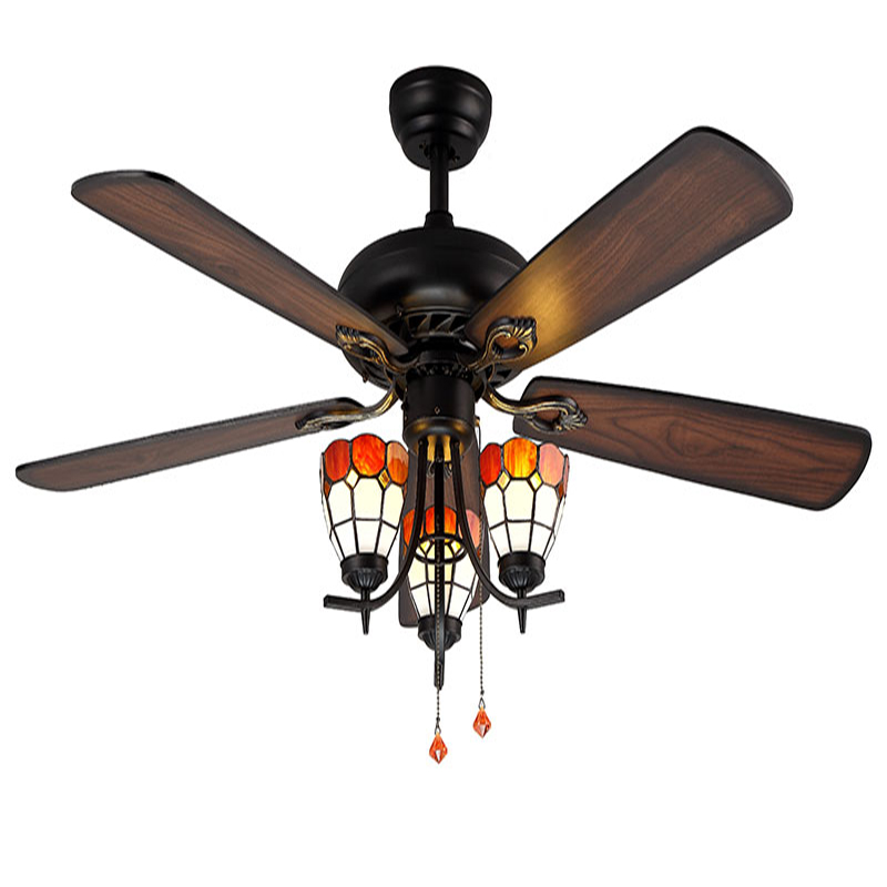 Decorative wood blades ceiling fan 5218 b red church glass shades decorative wood blades ceiling fan 5218 b red church glass shades ceiling fan with light kit in ceiling fans from lights lighting on aliexpress aloadofball Images