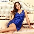2017 Women Summer Blue V Neck Sleeveless Sexy Nightwear Lace Nightdress Sleepwear Silk Satin Nightgowns Sexy Nighty Dress
