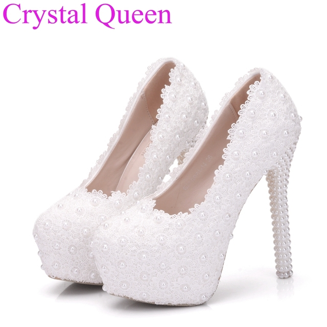 White Lace Wedding Shoes Pumps Sweet Flower Platform High Heeled Pearls