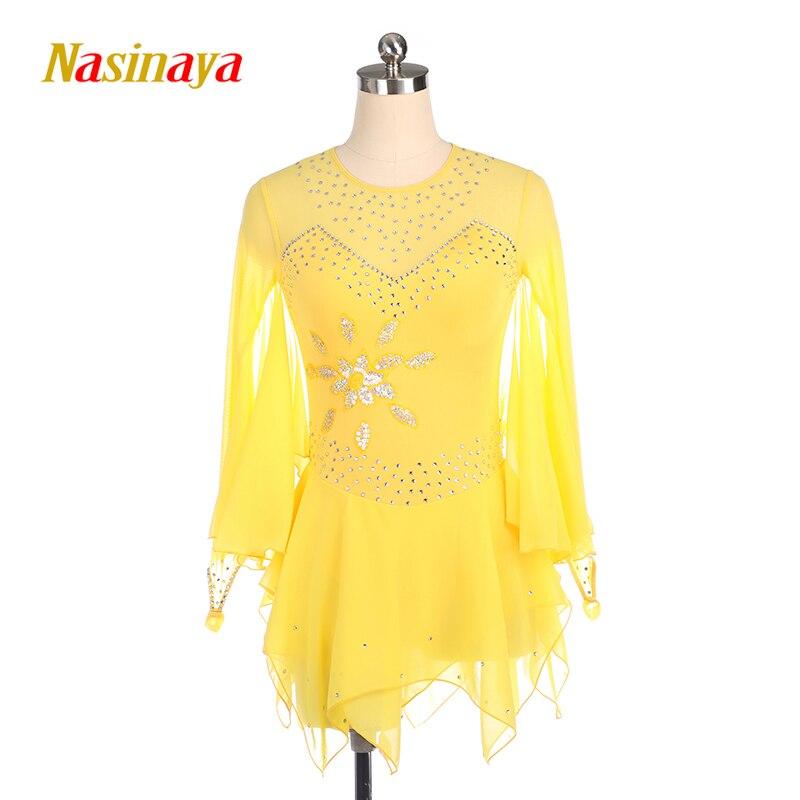 Nasinaya robe de patinage artistique concours personnalisé jupe de patinage sur glace pour fille femmes enfants Patinaje gymnastique Performance 409