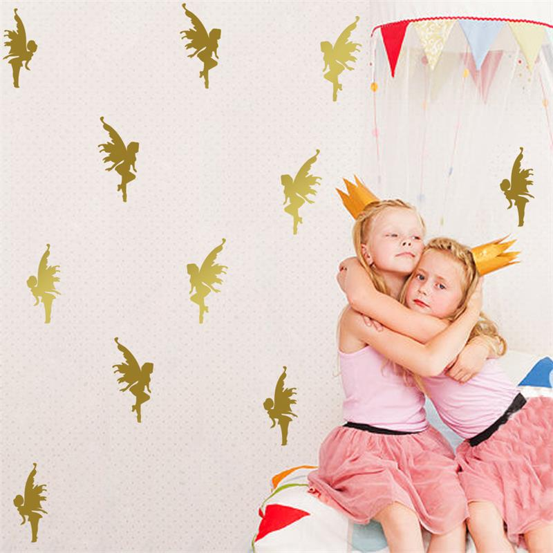 8pcs / set Cartoon Cute Little Angel Wall Sticker for Kid Baby ოთახი მორთულობა თვითწებვადი PVC Art Mural Flower Fairy Wallpaper