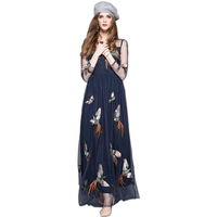 HIGH QUALITY Women S Fashion Runway Long Mesh Dress See Through Sleeve Animal Embroidery Vintage Dresses