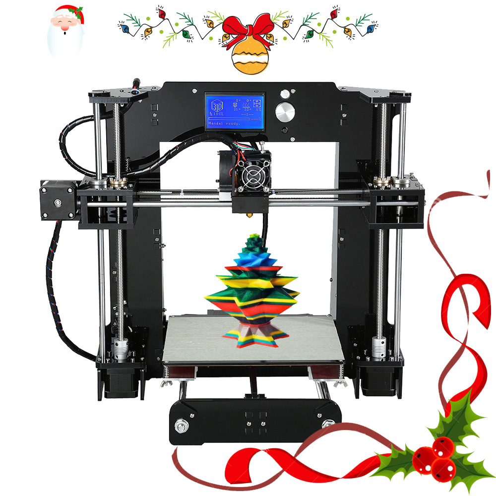 Fácil de montar Anet A6 y A8 3D impresora de gran tamaño de alta precisión Reprap i3 DIY 3D máquina de impresión + semillero + de + tarjeta SD + LCD