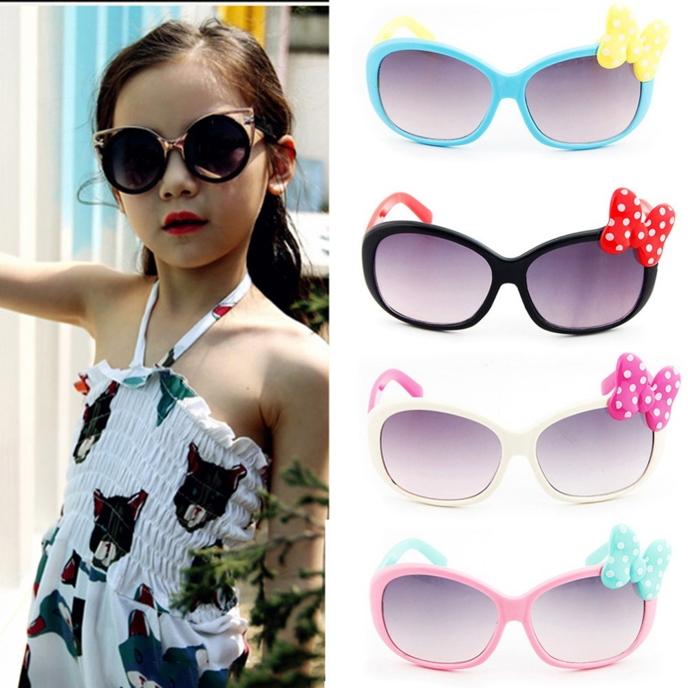 Children Cartoon Sun Glasses Baby Boys Girls Cute Bow Sunglasses Infant Cute Summer Outdoor Goggles