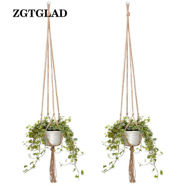 1pcs New Macrame Plant Hanger Indoor Outdoor Hanging Planter Basket Cotton Rope Hanging Baskets
