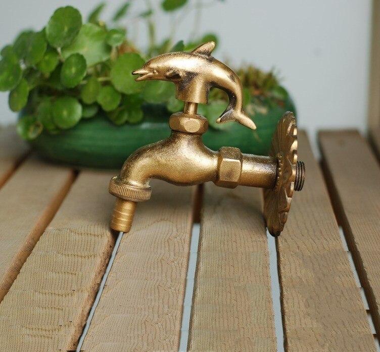 MTTUZK robinet de jardin extérieur forme animale Bibcock laiton antique dauphin robinet pour lavage vadrouille/jardin arrosage animal robinet