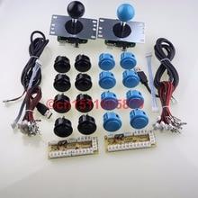 Genuine 16 X SANWA OBSF-30 Push Buttons + 2 X SANWA JLF-TP-8YT Joysticks+ 2 X PC Encoders For MAME Arcade Games DIY – Black+Blue