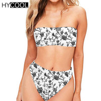 HYCOOL Swimsuit for Women Retro Floral Printed Swimming Swimwear Female Large Size Swim Suit Womens Thong Bathing Suits Ladies