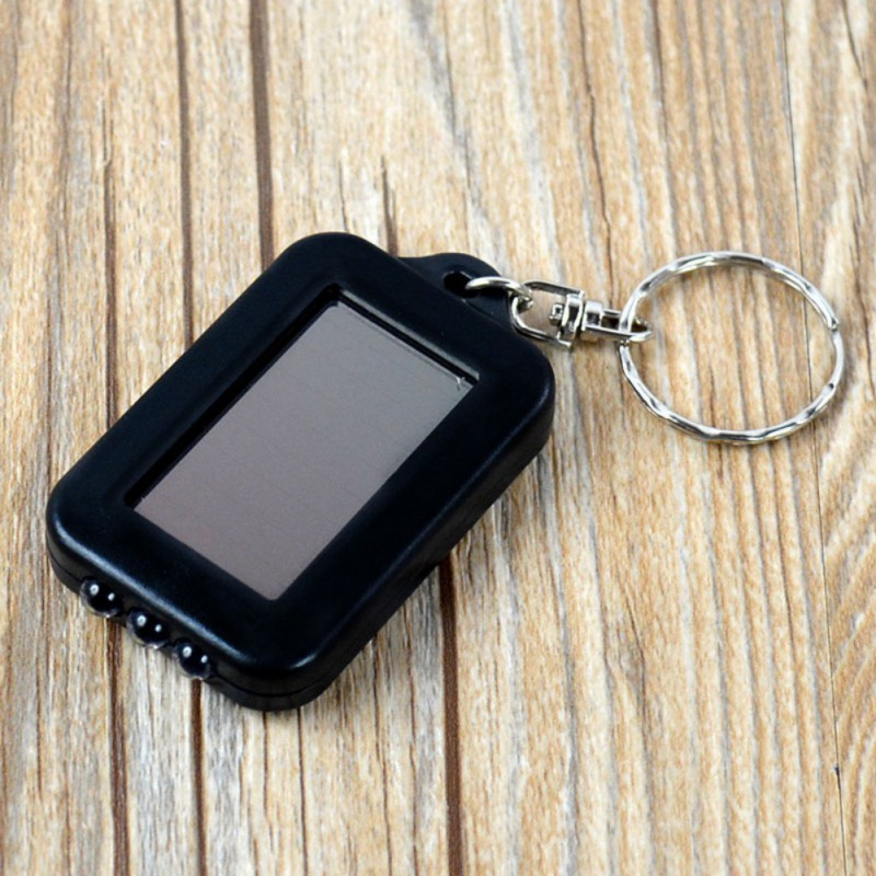 Mini Portable Solar Power 3 LED Light Keychain Keyring Torch Flashlight With Re-chargeable Built-in Battery