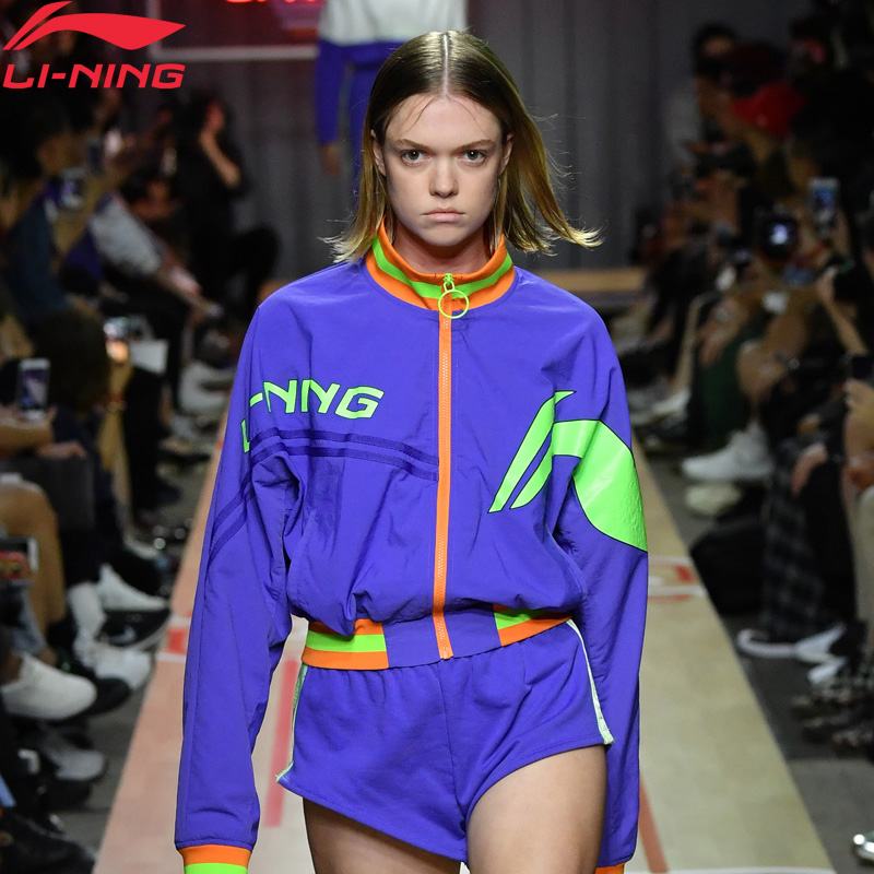 Li Ning Women PFW CHINA LI NING Jacket Loose Fit Printing Nylon Polyester LiNing Comfort Sports