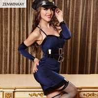 Female Sexy Police Outfit Cosplay Sexy Costume Women Exotic Apparel Role Play Porno Sex Lingerie 3 Pieces Set