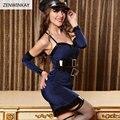 Sexy feminino Polícia Outfit Cosplay Mulheres Traje Sexy Vestuário Exótico Role Play Porno Lingerie Sexo Conjunto de 3 Peças Set