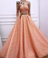 Peach Muslim Evening Dresses 2018 A line Sweetheart Tulle Pearls Flowers Islamic Dubai Saudi Arabic Long Formal Evening Gown