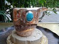 Turquoise Wood Grain Gold Tea Sea Sterling Silver 150G Cup