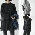 La Moda de Harajuku Sudaderas Con Capucha de Gran Tamaño Sólido de Algodón Negro Mujeres Baggy Loose Hombro de La Gota Jerseys Mujer Primavera Otoño