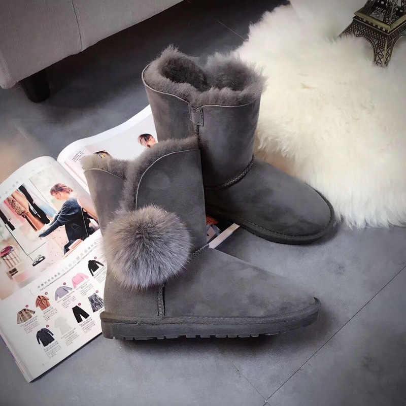 51a0596a43dfa Luxury Women Winter Sheepskin Snow Boots Suede Genuine Leather Real Sheep Fur  Mid Calf Fox Fur