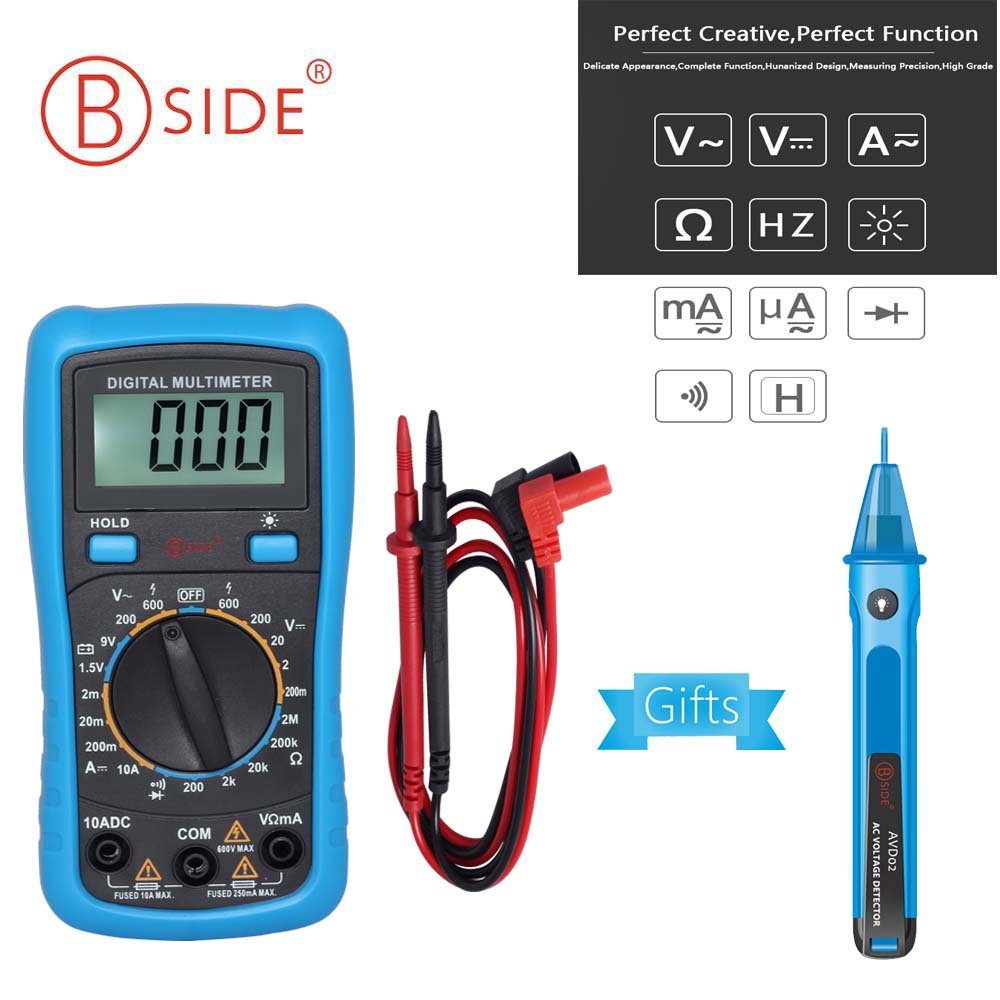 BSIDE ADM11 Multimetro Digitale 3 1/2 Handheld Mini Pocket DMM AC/DC Tensione Corrente Resistenza Diodo del Tester del Voltmetro di Multimetro