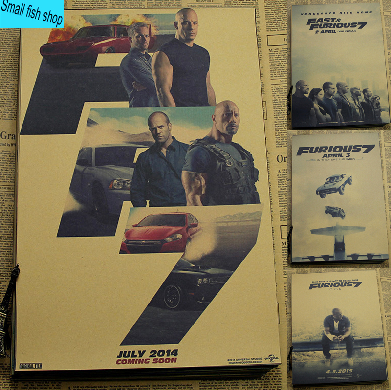 Small fish shop Store Fast  Furious 7 Paul Walker Racing movie Home Furnishing decoration Kraft Movie Poster Drawing core Wall stickers