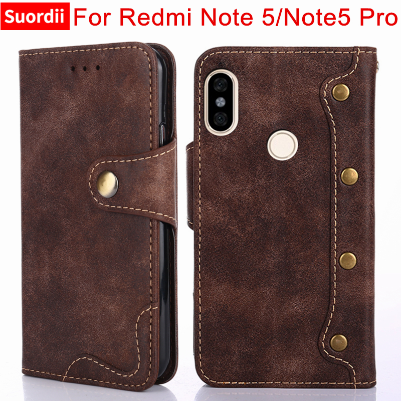 For Xiaomi Redmi Note 5 Case Luxury Rivet Flip Wallet Leather Cases For Redmi Note 5 Pro Cover Stand Card Holder Function