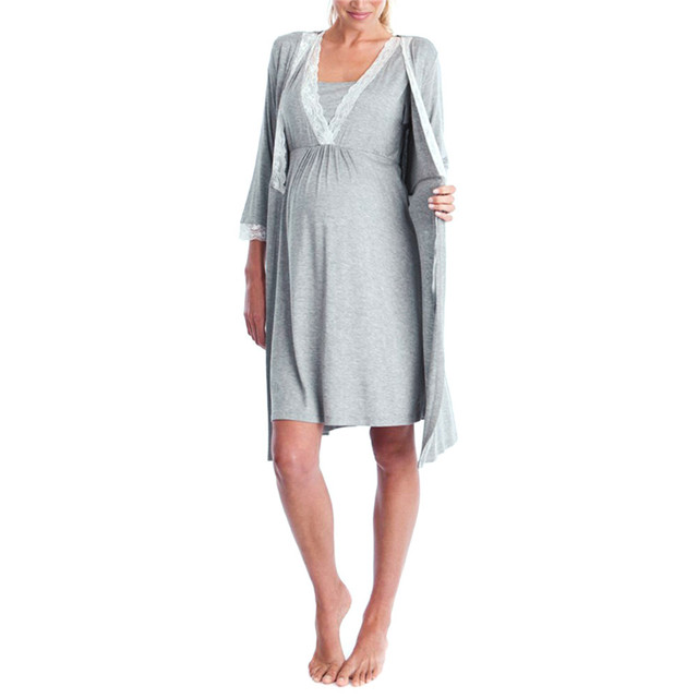 Solid Gray Lace LONSANT Maternity Dress 1