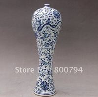 dignified Old Qing Dynasty Blue and white porcelain vase,Free shipping