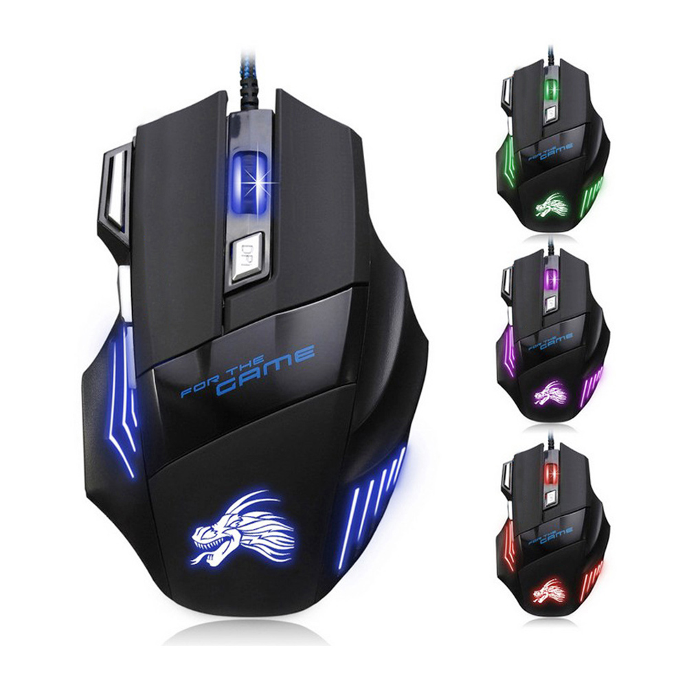 Nuovo Professionale Wired Gaming Mouse 5500 dpi 7 Bottoni LED USB Ottico Con Cavo Mouse per Pro Gamer Computer meglio di x7 mause