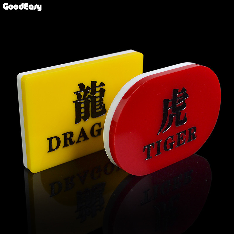 High Quality Baccarat TIGER WINS & DRAGON WINS Acrylic Poker Button Set Double Side