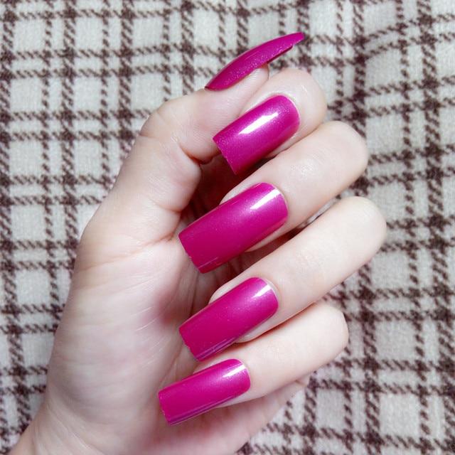 20Pcs Glitter Fasle Nails Rose Red Purple Flat Top Fake Nails Super ...
