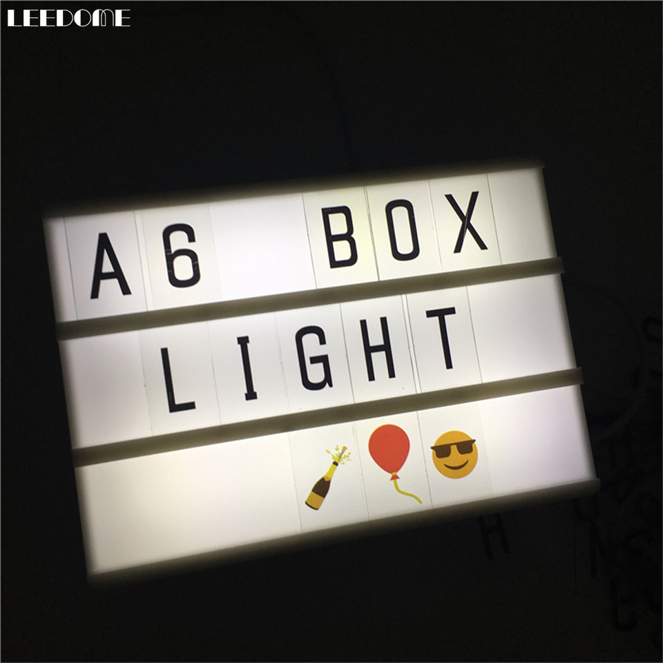 Dropship A6 Size Combination  Cinematic Light Box AA Battery USB Powered DIY Lightbox With Black Letters Cards As Kids Gift