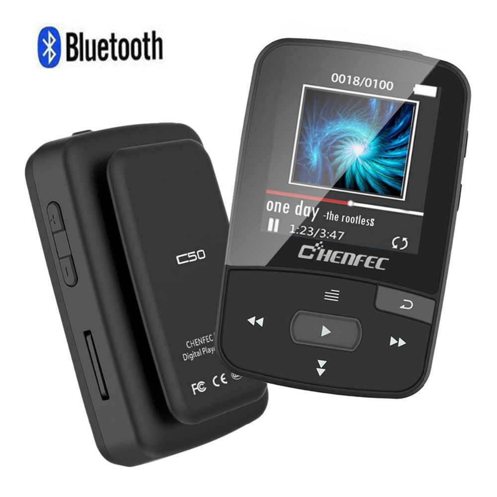ChenFec C50 8GB Clip Bluetooth MP3 Player 1.5 Inch Screen Mini Size Lossless Sound Music Player with FM Radio Voice Record
