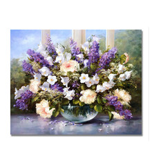 цена RIHE Blooming Flower Diy Painting By Numbers Vase Oil Painting Cuadros Decoracion Acrylic Paint On Canvas Modern Wall Art 2018