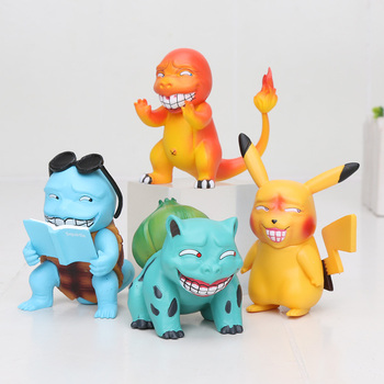 SET of 4 Game Freak Charmander Bulbasaur Squirtle Figure Statue Smile Wretched Detective Anime Doll Toys action figure pokemon