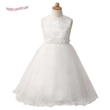 bb8551ff6e 2017 nowy wykonane na zamówienie słodkie łuk suknia balowa Ivory Tulle kwiat  dziewczyna sukienki 2017 pas z kwiat koronki suknia do ziemi tanie