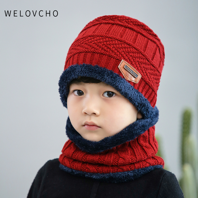 21094dead98 WELOVCHO Hot child 2pcs super warm Winter balaclava wool Beanies Kids  Knitted Hat and scarf for 3-12 years old girl boy Hats