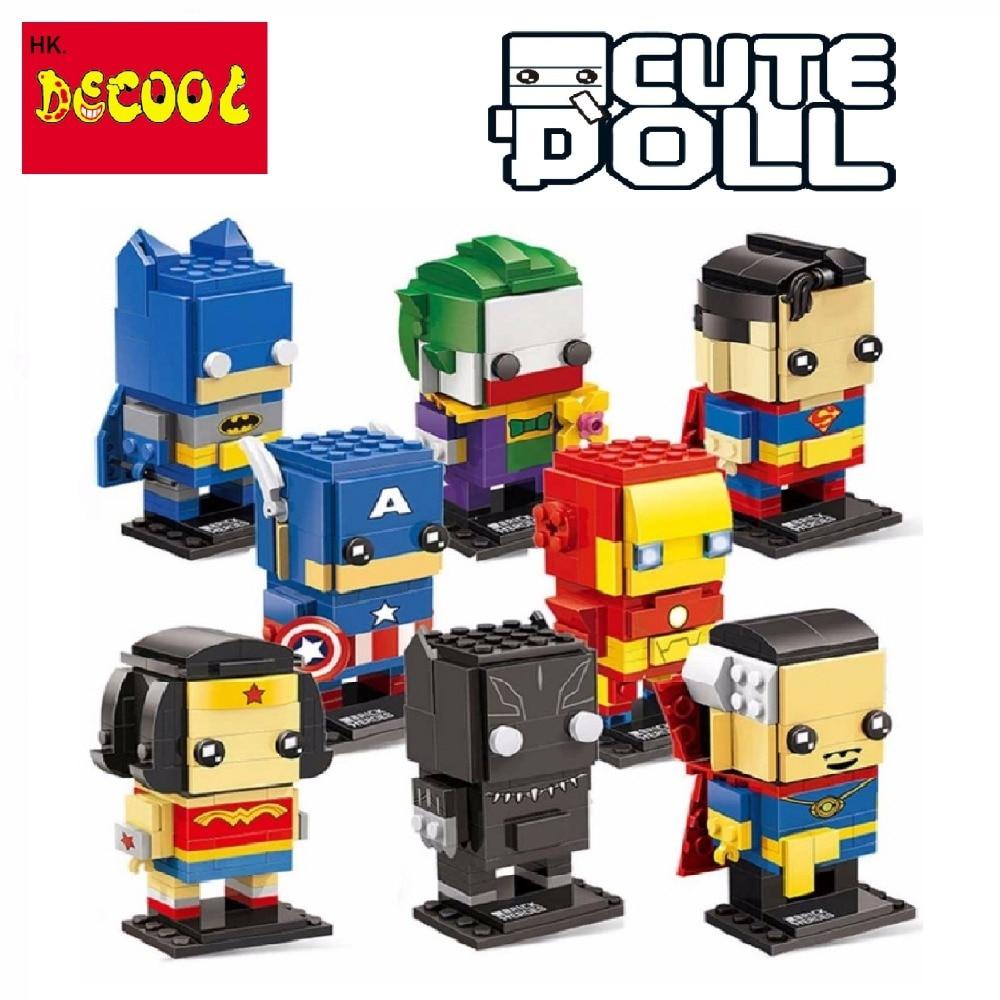 Decool superheros Batman superman Iron Man Avengers for Lego brickheadz for minifigure Marvel building blocks kids toys set gift все цены