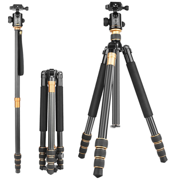 Q999C 62'' Carbon fiber lightweight extendable compact digital DSLR video camera tripod 5KG load heavy duty tripod camping stool