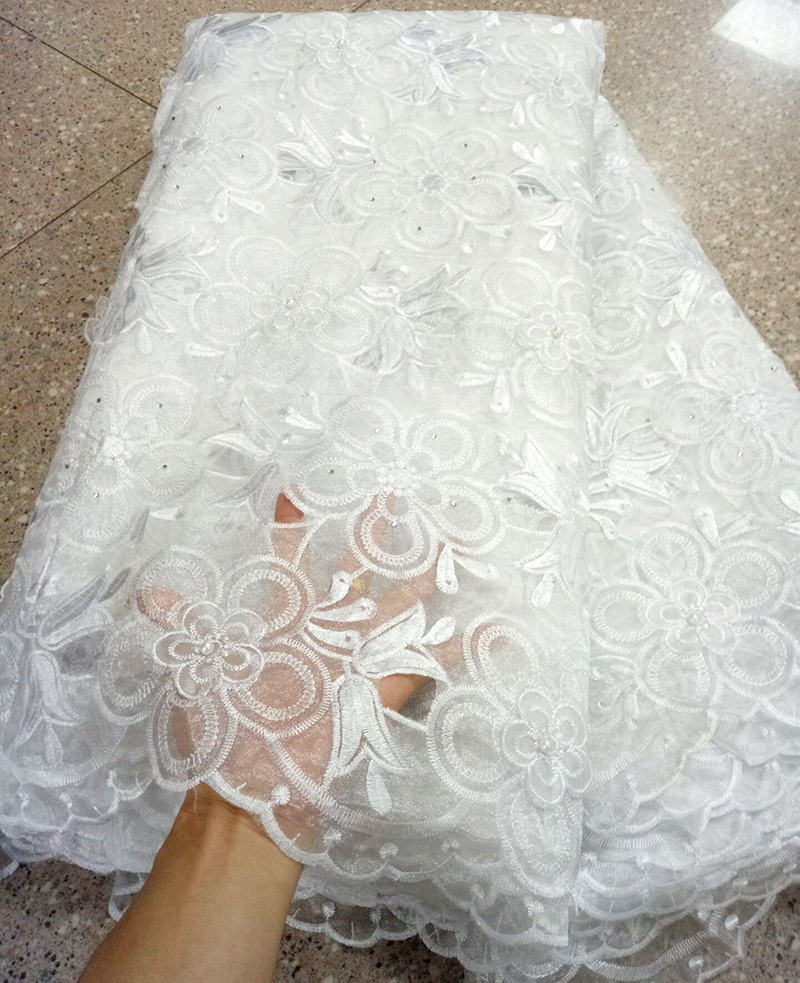 Fashion African organza Lace Fabric White French Lace Fabric High Quality With Stone Nigerian Embroidery cheap Tulle Lace Fabric