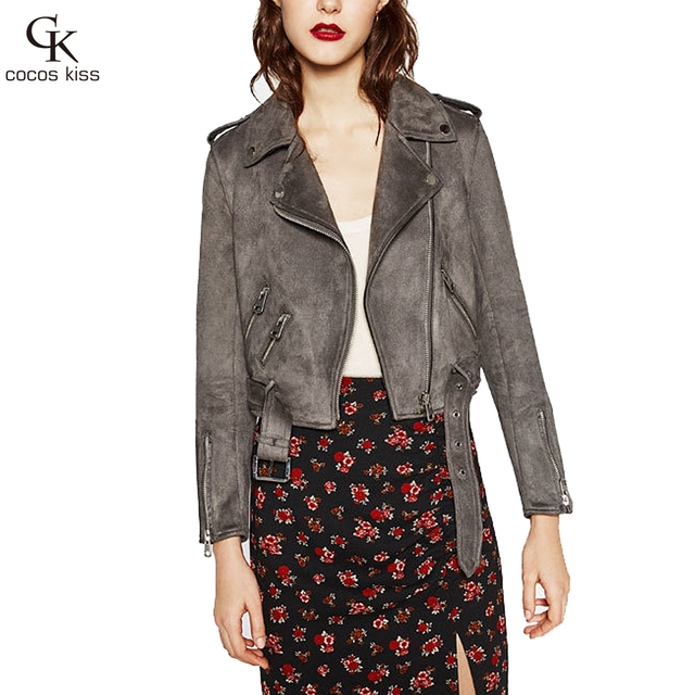 2016 New Women Fashion Personality Cashmere Leather Jacket All-match Composite Coat
