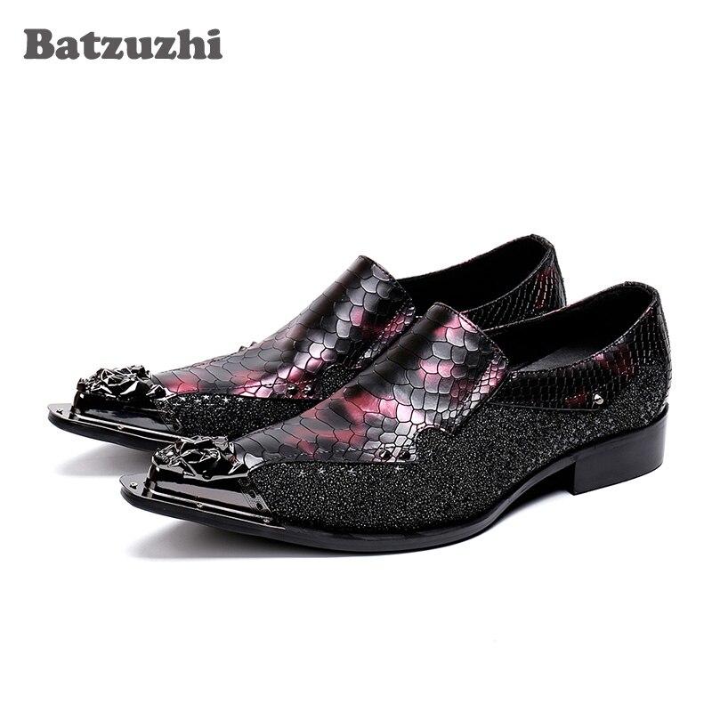 Batzuzhi Luxury Fashion Shoes Men Designers Dress Shoes Metal Tip Scales Pattern Designers Oxford Shoes Zapatos Hombre,US6-12Batzuzhi Luxury Fashion Shoes Men Designers Dress Shoes Metal Tip Scales Pattern Designers Oxford Shoes Zapatos Hombre,US6-12