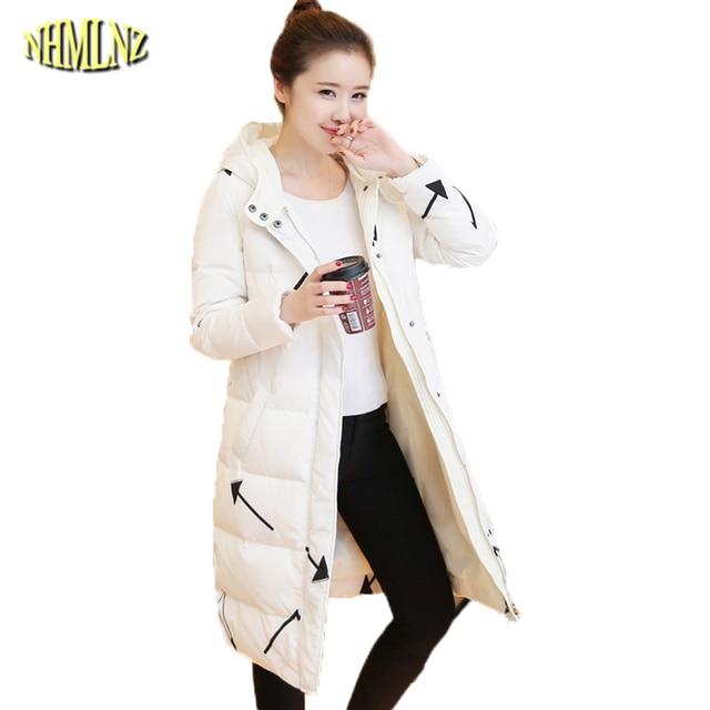 2017 invierno mujer Chaqueta estilo coreano recto con capucha gruesa abrigo  de algodón cómodo impresión larga 0e50e85cfbd4
