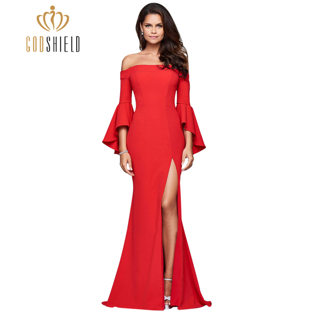 Elegante Zuhair Murad Vestidos de Noche 2017 Del Cuello Del Barco Del Hombro flare manga robe de bal alta dividir una línea del partido prom vestidos