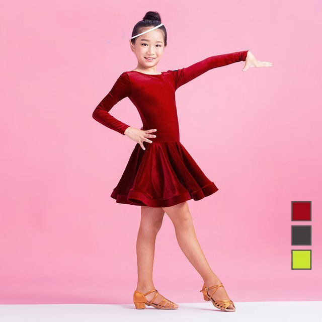 174801092 New fashion ballroom velvet Latin dance one piece dress for little ...