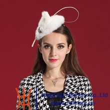 Free Shipping Women Fascinator Hat Hair Comfortable Fur Feather Fashion Ladies Hair Accessories Special Noble Hat