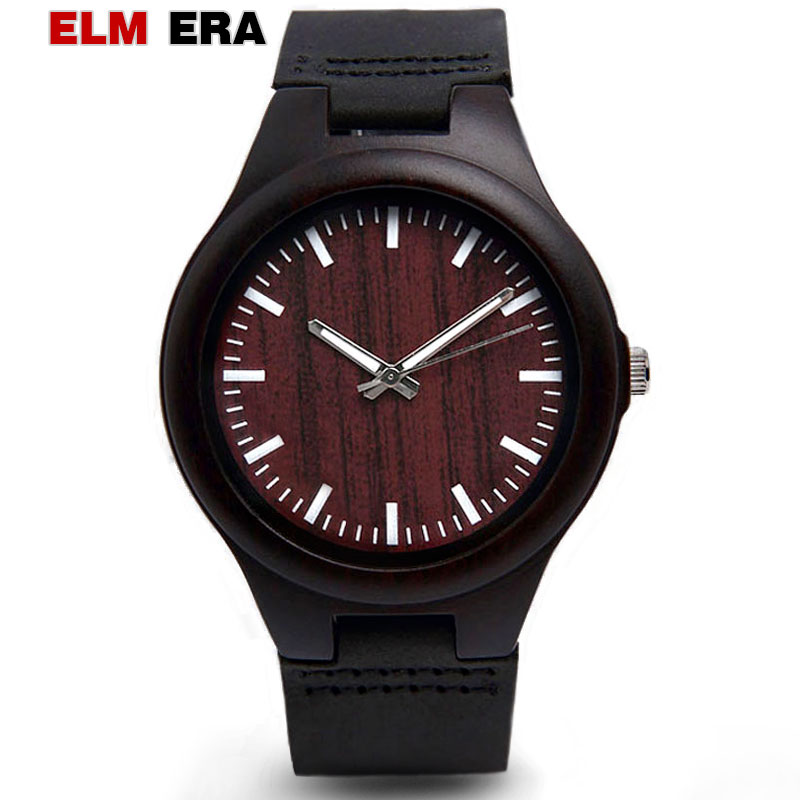 ELMERA Relogio Masculino Mens Watches Wooden Male of Plaid Black Automatic Wristwatch Watch Luxury