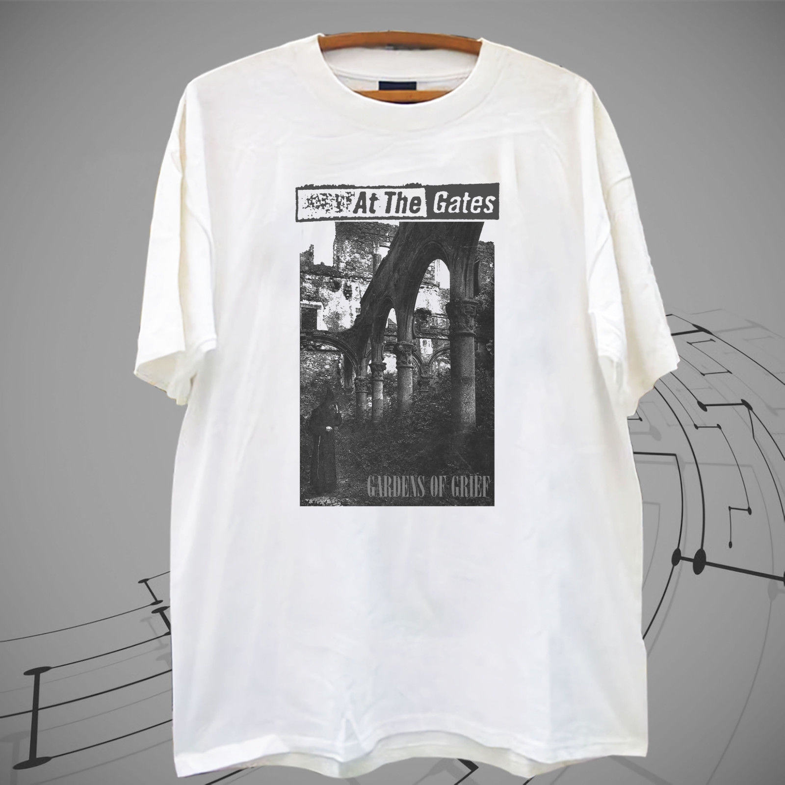 New !!At The Gates Mens Gardens Of Grief White T Shirt Tee XS-2XL