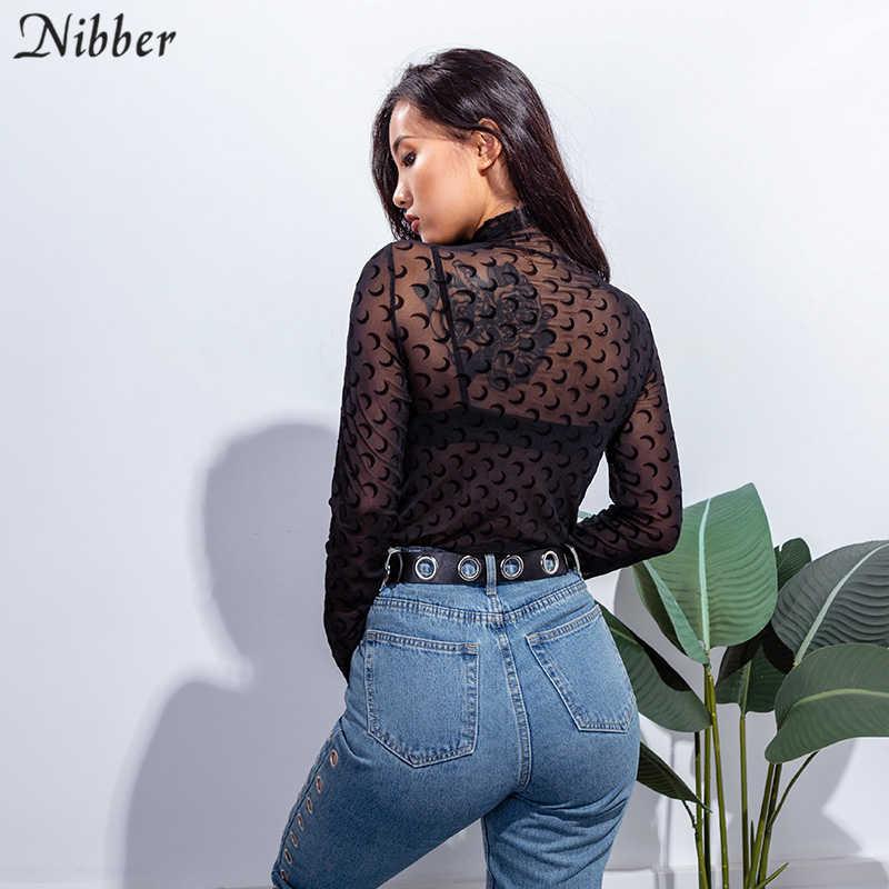 Nibber женская сексуальная прозрачная полумесяц шаблон эластичные Топы футболка черный и белый хаки Весна Новая Леди Базовая Приталенная футболка