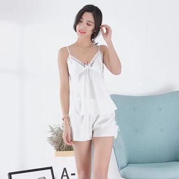 Sexy Lingerie Women's Satin Silk Pajama Summer Spaghetti Strap Sleepwear lace pijama pyjamas women home clothes bathrobe 2019 6